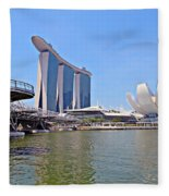 Singapore Artscience Museum Double Helix Bridge And Marina Bay  Fleece Blanket