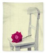 Single Red Rose Fleece Blanket