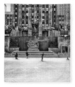 Skating At Rockefeller Plaza Fleece Blanket