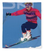 Ski 3 Fleece Blanket