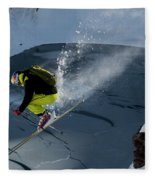 Skier Jumping On A Sunny Day Fleece Blanket