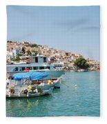Skopelos Harbour Greece Fleece Blanket