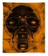 Skull In Orange Fleece Blanket