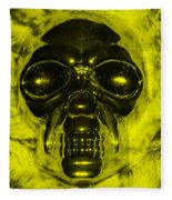 Skull In Yellow Fleece Blanket