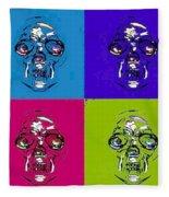 Skulls In Quad Colors Fleece Blanket