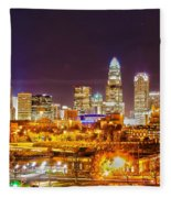 Skyline Of Uptown Charlotte North Carolina At Night Fleece Blanket