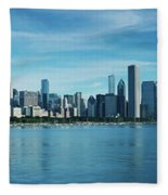 Skylines At The Waterfront, Lake Fleece Blanket
