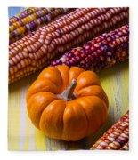 Small Pumpkin And Indian Corn Fleece Blanket