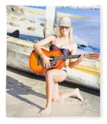 Smiling Girl Strumming Guitar At Tropical Beach Fleece Blanket