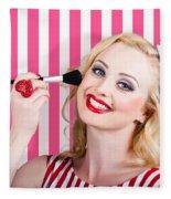 Smiling Makeup Girl Using Cosmetic Powder Brush Fleece Blanket