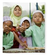 Smiling Muslim Children In Bali Indonesia Fleece Blanket