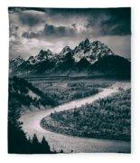 Snake River In The Tetons - 1930s Fleece Blanket