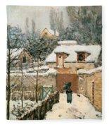 Snow At Louveciennes  Fleece Blanket