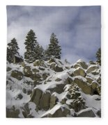 Snow Covered Cliffs And Trees Fleece Blanket
