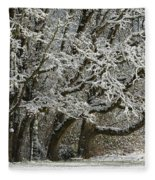 Snow On Trees Fleece Blanket