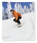 Snowboarder Going Down Snowy Hill Fleece Blanket