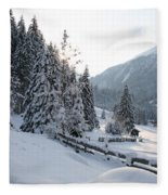 Snowy Trees Fleece Blanket
