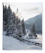 Snowy Trees Fleece Blanket