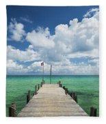 Sok San Pier On Long Beach In Koh Rong Island Cambodia Fleece Blanket
