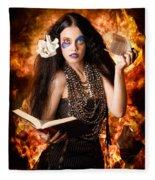 Sorcerer Casting Black Magic Spells Of Fire Fleece Blanket