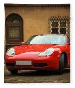 Sport Car In The Old Town Scenery Fleece Blanket