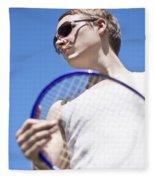 Sporting A Racquet Fleece Blanket