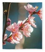 Spring Peach Tree Blossom Fleece Blanket