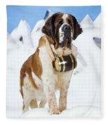 St. Bernard Dog Fleece Blanket