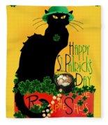 St Patrick's Day - Le Chat Noir Fleece Blanket