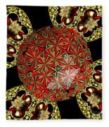 Stained Glass Kaleidoscope Under Glass Fleece Blanket