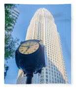 Standing By The Clock On City Intersection At Charlotte Downtown Fleece Blanket