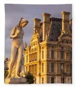 Statue Below Musee Du Louvre Fleece Blanket