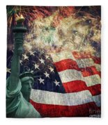 Statue Of Liberty And Fireworks Fleece Blanket
