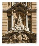 Statue Of Queen Victoria At Town Hall Of Sydney Australia Fleece Blanket