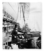 Steamship 'great Eastern Fleece Blanket