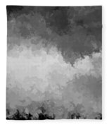 Storm Clouds Over A Cornfield Bw Fleece Blanket
