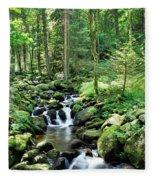 Stream Flowing Through A Forest, Usa Fleece Blanket