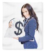Successful Business Woman Holding Bags Of Money Fleece Blanket