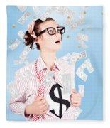 Successful Female Business Superhero Winning Money Fleece Blanket