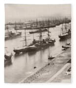 Suez Canal Port Said Fleece Blanket