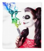 Sugar Skull Girl Blowing On Smoking Gun Fleece Blanket