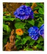 Summer Flower Garden Fleece Blanket