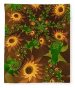 Summer's Last Sunflowers Fleece Blanket