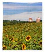 Sunflower Field New Jersey Fleece Blanket