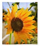 Sunflower With Texture Fleece Blanket