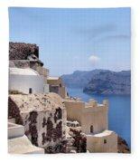 Sunny Santorini Fleece Blanket