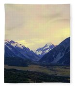 Sunrise On Aoraki Mount Cook In New Zealand Fleece Blanket