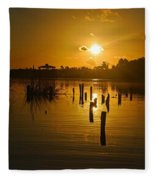 Sunrise On The Bon Secour River Fleece Blanket
