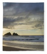 Sunset At Holywell Bay Fleece Blanket