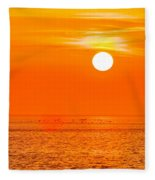 Sunset At Sea With Multiple Color Prizm Fleece Blanket